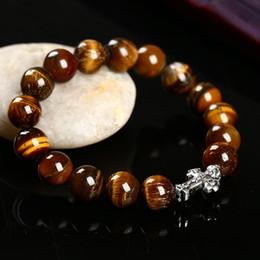 Wholesale Blue Agate Bangle - Natural Stone Agate Tiger's eye,Blue Sandstone,Lava-rock Cross Bracelets & Bangle Women Bracelets 10 MM Beads Bracelets for Men