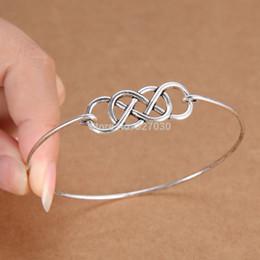 Wholesale Bracelets Ideas - Double Infinity Minimalist Handmade Wire charm bangle tibetan silver cuff metal bracelet women Men Jewelry Gift Ideas