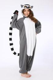 Wholesale Sexy Women S Animal Costume - Novelty Animal Lemur Long Tail Monkey Adult Onesie Unisex Women Men's Kigurumi Pajamas Halloween Christmas Party Costumes