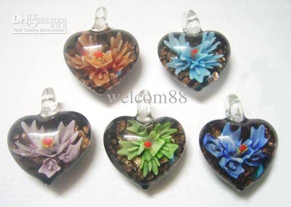 10st / mix färger hjärta murano lampwork glas hängsmycken för DIY hantverk smycken halsband hängsmycke pg0