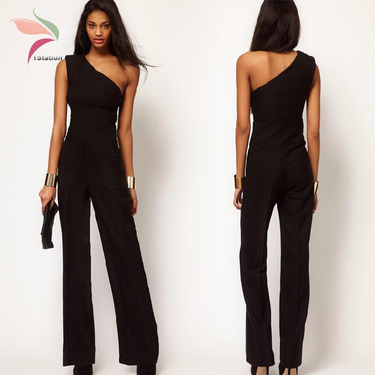 3506ca4197cb Summer Women Chiffon Black Elegant Jumpsuit High Waist Romper One Shoulder  Full Length Casual Pants Vestidos Cortos XXL Canada 2019 From Dayup, ...
