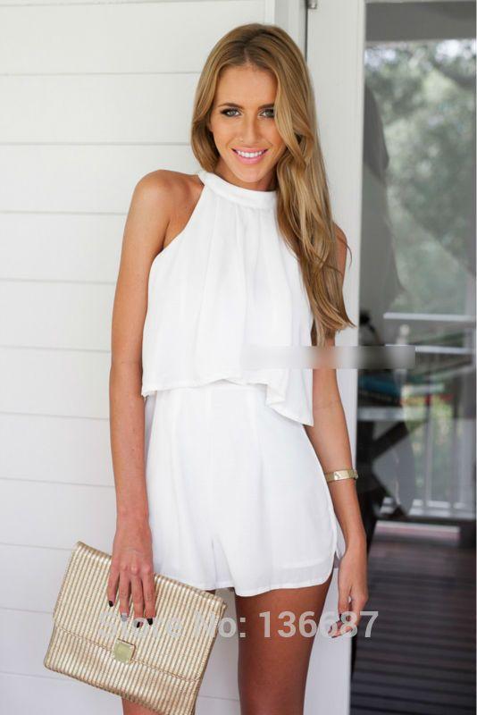 Mode Boutique Design Women White Jumpsuit High Neck Fitted Waist