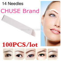 Wholesale-100PCS/lot  CHUSE S14 Permanent  Blade Manual Eyebrow Tattoo Blades 14 Needles