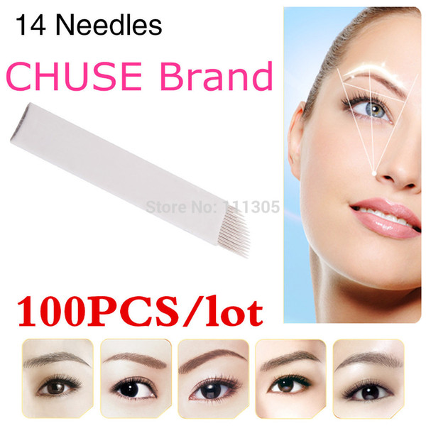 top popular Wholesale-100PCS lot CHUSE S14 Permanent Makeup Blade Manual Eyebrow Tattoo Blades 14 Needles 2020