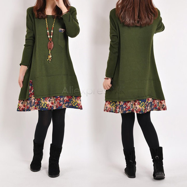 best selling new dress for pregnant , Loose Plus Size Women Autumn Winter Thick Casual Dress Vestidos Roupa Gestante 31