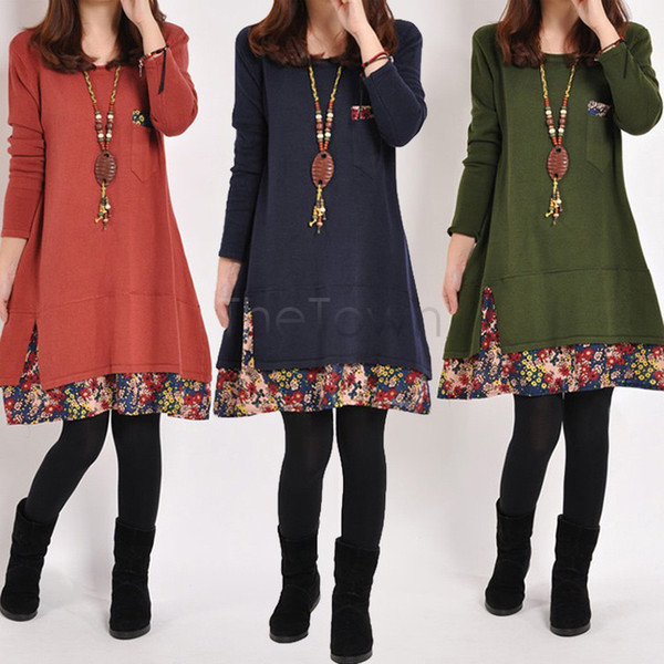 Women Big Size Pregnant Clothes,Plus Size Maternity Sweater Dress Women Casual Cotton Patchwork Autumn Winter Dresses 31