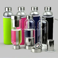 Wholesale Fruit Water Infuser - Wholesale-Colorful cover Free Glass Sport Water Bottle with Tea Filter Infuser Protective Bag 550ml Fruit Outdoor Eco-Friendly