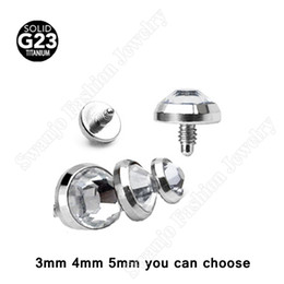 Wholesale Dermal Body Jewelry - Fashion G23 Grade Titanium Dermal Anchor gem Top body jewelry piercing Skin Diver Dermal Piercing 3 Size Can Choose