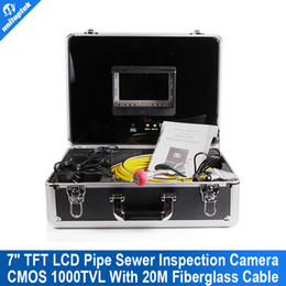 Wholesale Glass Fiber Cable - 20m Cable Fiber Glass 7'' TFT LCD Waterproof Pipe Sewer Inspection Camera Color 1 3 CMOS 1000TVL 12Leds Endoscope Snake Camera
