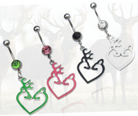 Wholesale Deer Belly Ring - Browning Deer Belly Button Navel Rings NABEL RING 316L Stainess Steel PIERCING Body Piercing
