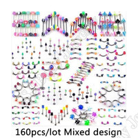 Wholesale Spiked Tongue Piercing - 160pcs set Body Piercing Assorted Mix Lot Kit 14G 16G Ball Spike Curved Sexy-Belly Rings Ear Tongue Pircing Barbell Bars ombligo