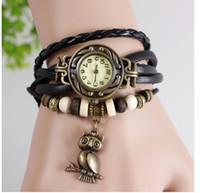 Wholesale Owl Watch Pendant Wholesale - Wholesale-Vintage Watch Leather Strap bronze ladies quartz Watches Owl Pendant item hours wooden Bead Bracelet watch Casual watches
