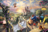 Wholesale Thomas Kinkade Painting Free Shipping - Free shipping Beauty and the Beast Art print fade resistant Thomas kinkade famous painting reproduction manufacturers 0320