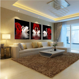 Wholesale Cheap Floral Canvas Art - Free shipping canvas art rose swan three cheap home decor picture prints on canvas modern wall