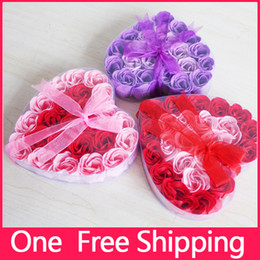 Wholesale Soaps Shapes - New!!High Quality Valentine's Day Roses Mix Colors Heart-Shaped Rose Soap Flower(24pcs Box) For Romantic Bath And Gift