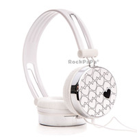 Wholesale Dj Headphone Girls - Rockpapa Lightweight Love Pattern DJ Headphones Headsets Earphones for Boys Kids Girls Childs Teens Adult innoTab 1 2 3s White