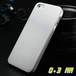 Wholesale Iphone5 Case Brushed Aluminum - 0.3mm Thin Brushed Aluminum case for iPhone 5 5S 5G Hard Luxury, Titanium steel mesh Metal cover for iphone5, 10 pcs lot OYO