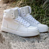 Wholesale Designer Wedges Boots - Hot Brand Designer Men Shoes Fashion Spring Autumn PU Leather Soft Sneakers Casual High Top Men Shoes Ankle Boots