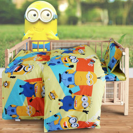 Wholesale Cartoon Bedding Sets For Boys - Wholesale-Baby Girl Boy Minnie Hello Kitty Cartoon Quilt Cover Bed Sheet Pillowcase 100% Cotton Bedding Set for Crib Cradle,1set=3pcs