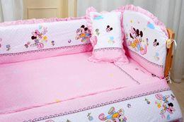 Wholesale Mouse Bedding Set - Wholesale-Promotion! 5pcs Mickey Mouse baby bedding set 100% cotton curtain crib bumper washable baby bed bumper (bumper+matress+pillow)