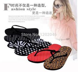 Wholesale Zebra Slippers - 2015 Zebra Stripe Leopard dot Beach Flip Flops Women's Sandals Lady Summer Slippers Women Flat Casual Shoes Home House slipper