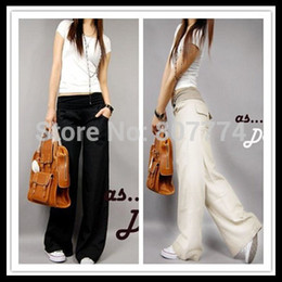 Wholesale Linen Fabric Trousers - 2015 Better fabric Spring linen pants elastic waist wide leg pants casual pants straight pants loose bell-bottom trousers #2015