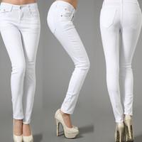 одежда для женщин оптовых-Winter Elasticity Leisure Cotton Plus Size White Draping Pencil Full Length Panelled Jeans Pants&Capris Trousers Women Clothing