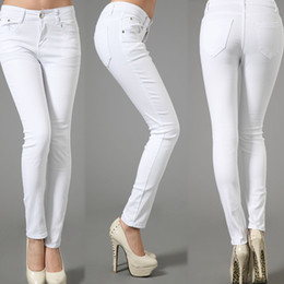 Wholesale Women S Leisure Jeans - Winter Elasticity Leisure Cotton Plus Size White Draping Pencil Full Length Panelled Jeans Pants&Capris Trousers Women Clothing