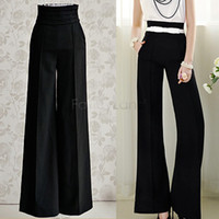 Wholesale Career Pants - 2015 Women Summer Palazzo High Waist Flare Pant Career Casual Business Wide Leg Trousers Loose Pants Drop Shipping 50