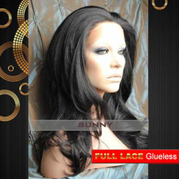 Indian Remy Hair Body Wave Australia - 18 Inch Body Wave #1B Natural Black Glueless Full Lace Wigs 100% Indian Remy Human Hair [GFH022]