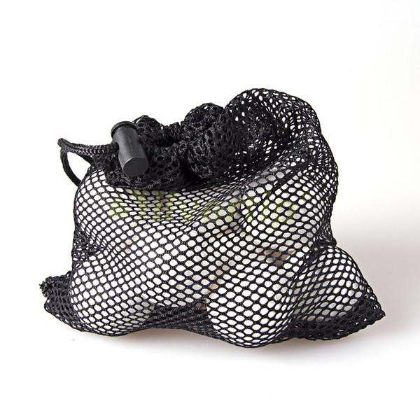 top popular Free Shipping Nylon Mesh Nets Bag Pouch Tennis Golf Ball Equipment Holder 24 Balls Black Portable Storage Drawing String Closure 2019