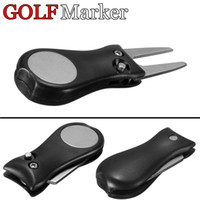 Wholesale Groove Cleaner - New Golf Marker Pitch Divot Repair Switchblade Tool Groove Cleaner mark green golfer