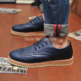 Wholesale Wingtips Shoes Men - New Designer PLUS SIZE 38-46 Men's Leather Wingtips Shoes Business Dress Oxfords Shoes Platform Casual Italy Mens Creepers