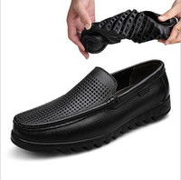 Wholesale Oxford Sandals Shoes - summer head layer cowhide men's shoes breathable perforated leather single shoe covers big yard hollow-out oxfords sandals