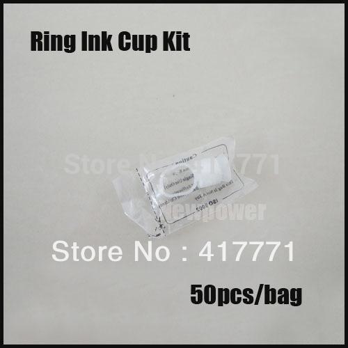 50 pcs permanente maquiagem descartável conjunto branco anel de dedo titulares de tinta caps suprimentos