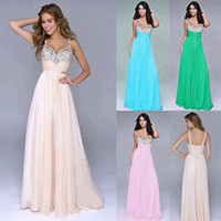 Wholesale Dress Size 18 Sleeves - Wholesale-New Long Formal Ball Gown Party Prom Bridesmaid Dress Stock Size 6-18