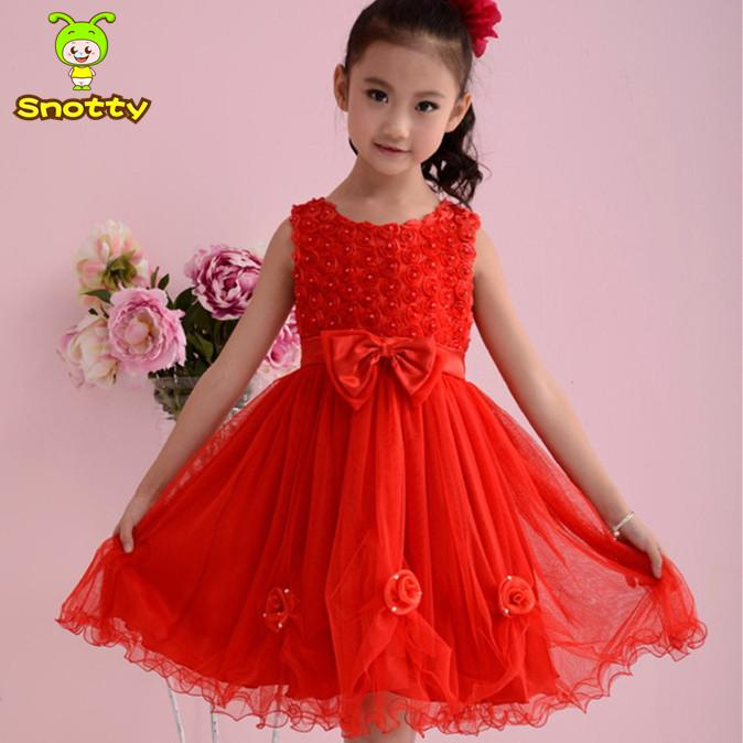 Wholesale-Chinese Red Bow Knot Party Wear Dresses for ...