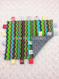 Wholesale Comfort Blankets - free shipping taggie blanket baby blanket gray dots minky blankets Security Blanket Toy 100% cotton chevron comforting towel