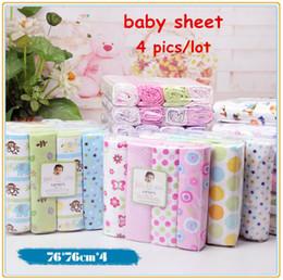 Wholesale Cot Sheets Sets - 4pcs lot newborn baby bed sheet bedding 100% cotton set for newborn super soft colorful crib cheap linen 76x76cm cot boy girl