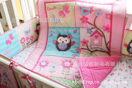 Wholesale Pink Owl Crib Bedding - Girl Printing embroidery Owl Bird Pink 100% cotton baby bedding includes Quilt Bumper bed Skirt Mattress Cover 4pcs bedding set