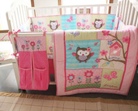 Wholesale Pink Crib Dust Ruffle - 8pcs baby Cot Crib bedding Set Embroidery Quilt Bumper Sheet Dust Ruffle Nappy Stacker Pink Birdie Owl flowers for Girls bed kit