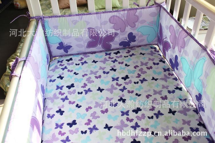Purple Butterfly Embroidery Baby Girl Bedding 100 Cotton