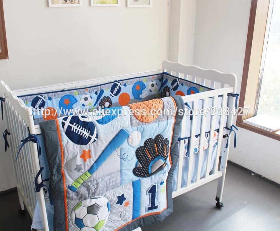 Baby Crib Bedding Sets Baseball Sports Boy Bed Cot Sheet Childrens Bedroom Linen Kids Quilt From