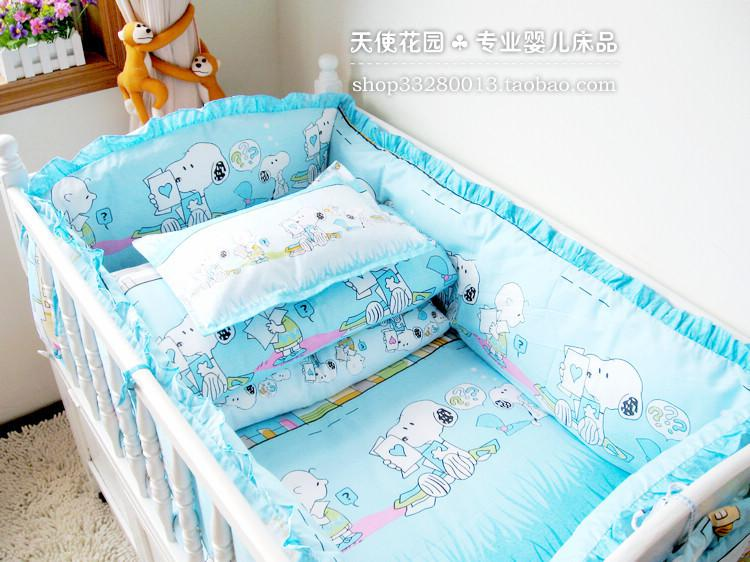100% Quality Bedding Sets Sky Blue Snoopy Crib Product Suite, Baby Bedding  Bed Around Kits, Cotton Baby Bed Set Bedding Sets Cheap Bedding Sets Cotton  Baby ...