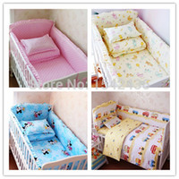 Wholesale Pink Black Crib Bedding - 5 Baby crib bedding set cot bedding sets 5 PCS baby bed set (bedding bumpers +fitted sheet ) Free Shipping