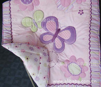 Wholesale Green White Flowered Quilt - Appliqued Baby Quilt Nursery Comforter Cot Crib bedding for girl baby butterfly animal and flower Designs pink purple mix order