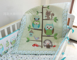 Wholesale Cot Sheets - Happy Owls and Friends Cute baby Crib bedding set 7pcs Cot set Embroidered Quilt Bumper Sheet Dust Ruffle for boy bed kit