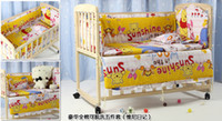 Wholesale Purple Cot - Cartoon 5 Pcs sets baby bedding set 100% cotton curtain crib bumper 100*60 baby cot sets baby bed bumper baby quilt