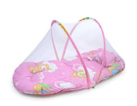 Wholesale Baby Cushion Beds - Portable Newborn Baby Bed cradle Crib with Folding Mosquito Net Infant Cushion Mattress Pillow mobile bedding crib netting set