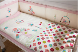 Wholesale Bedding Sets For Girls Cartoons - 7Pcs Pink Baby Crib Bedding Set for Girls Cartoon Bird Newborn Baby Bed Linens Cotton Cot Quilt Bumpers Set Sheet Pillow 4 Size